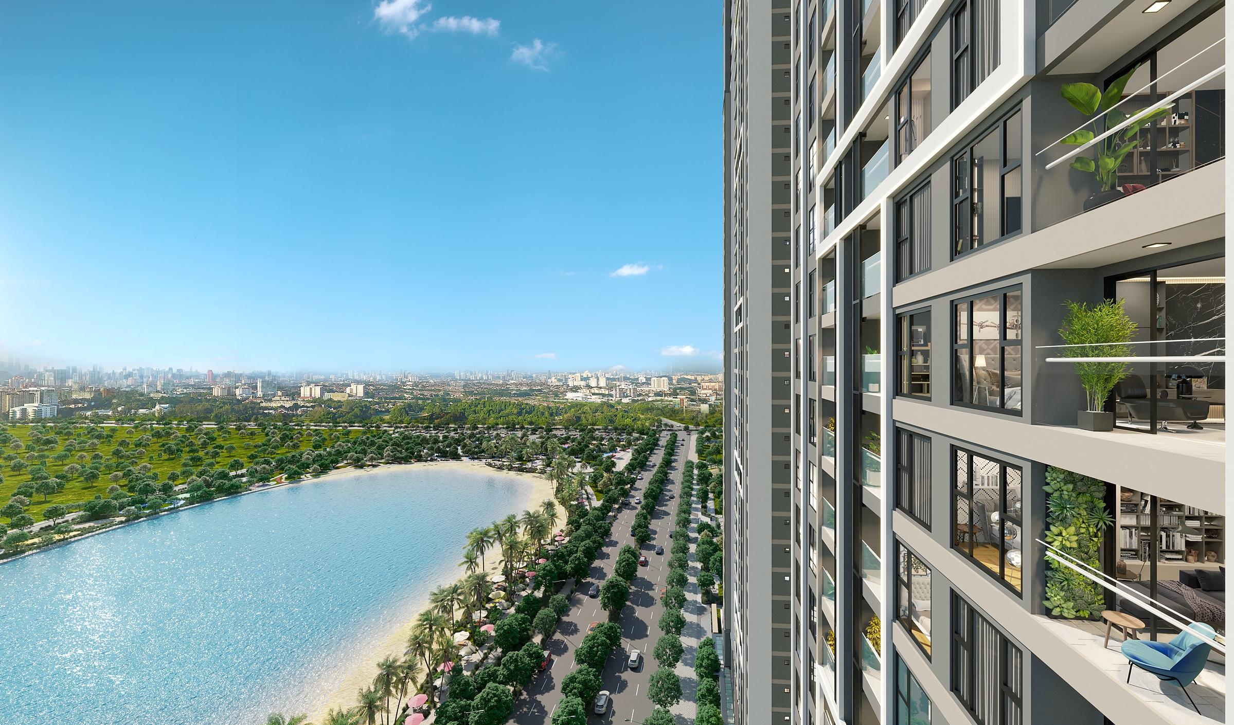 Tầm nhìn panorama bao trọn cảnh quan Smart City từ Masteri West Heights. Ảnh phối cảnh: Masterise Homes.