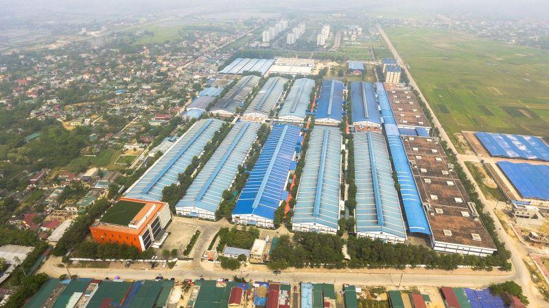 Khu kinh tế Nghi Sơn nhìn từ trên cao. Ảnh: Cổng thông tin Thị xã Nghi Sơn.