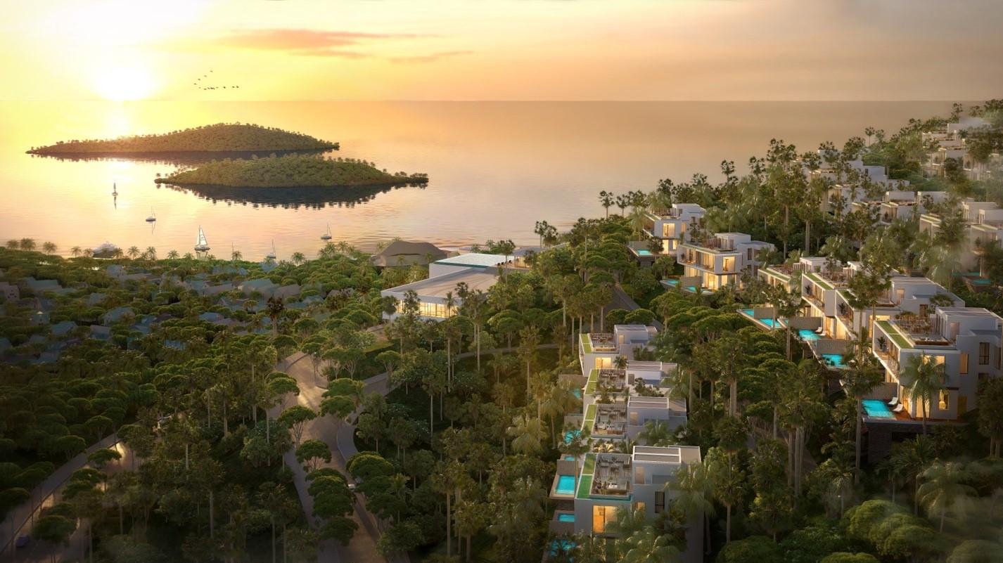 Biệt thự Casa Marina Premium Quy Nhơn với địa thể lưng tựa núi, mặt hướng biển. Ảnh: BCG Land.