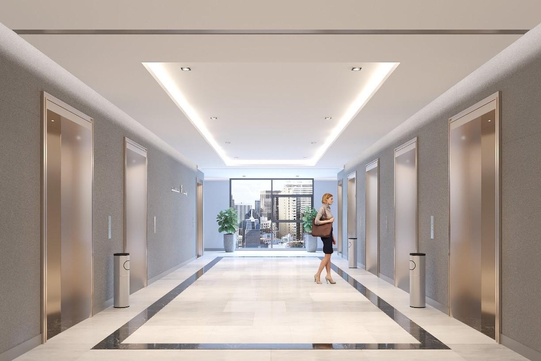 Sảnh thang máy khu căn hộ với kích thước 24 x 4,1 m. Ảnh phối cảnh: GP.Invest.
