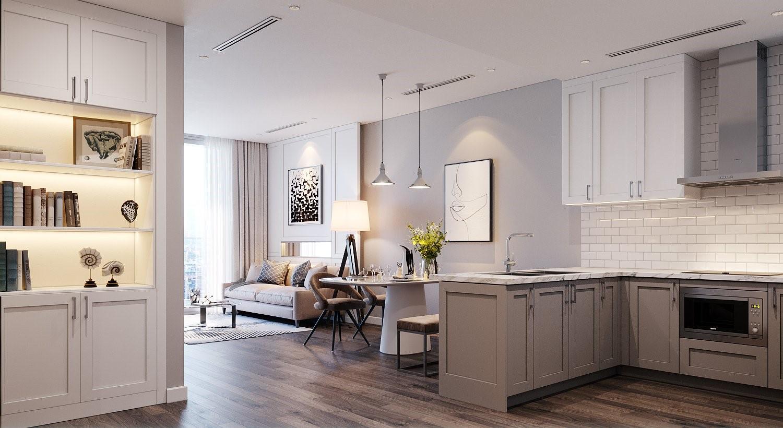 Thiết kế căn hộ hai phòng ngủ tại The Nine với tủ bếp Shaker Kitchen. Ảnh phối cảnh: GP.Invest.