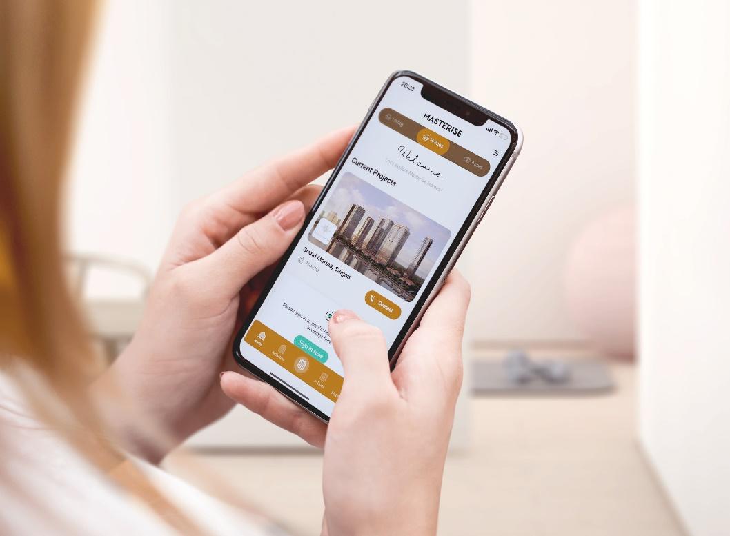 Ứng dụng mua nhà trên điện thoại sắp được ra mắt của Masterise Homes.