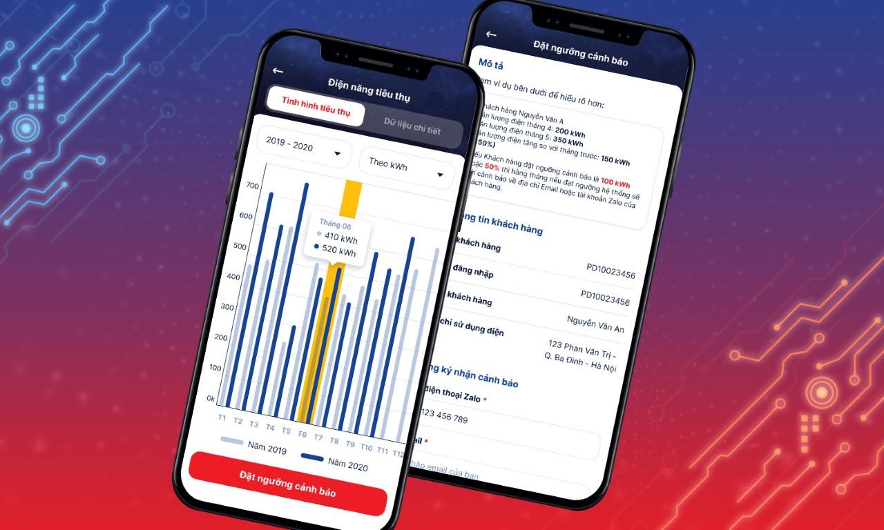 Giao diện ứng dụng EVNHANOI trên điện thoại di động.