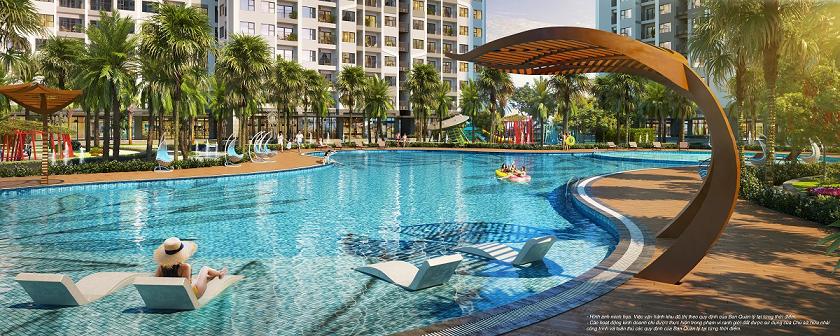 The Miami sở hữu bể bơi ngoài trời rộng tới 1.000m2. Ảnh: Vinhomes Smart City