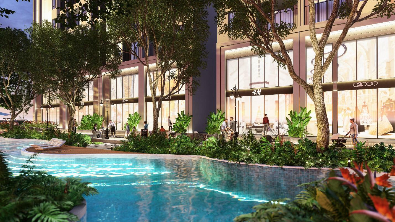 Giữa công viên nhiệt đới là hệ thống hồ bơi và hồ cảnh quan rộng hàng nghìn m2.