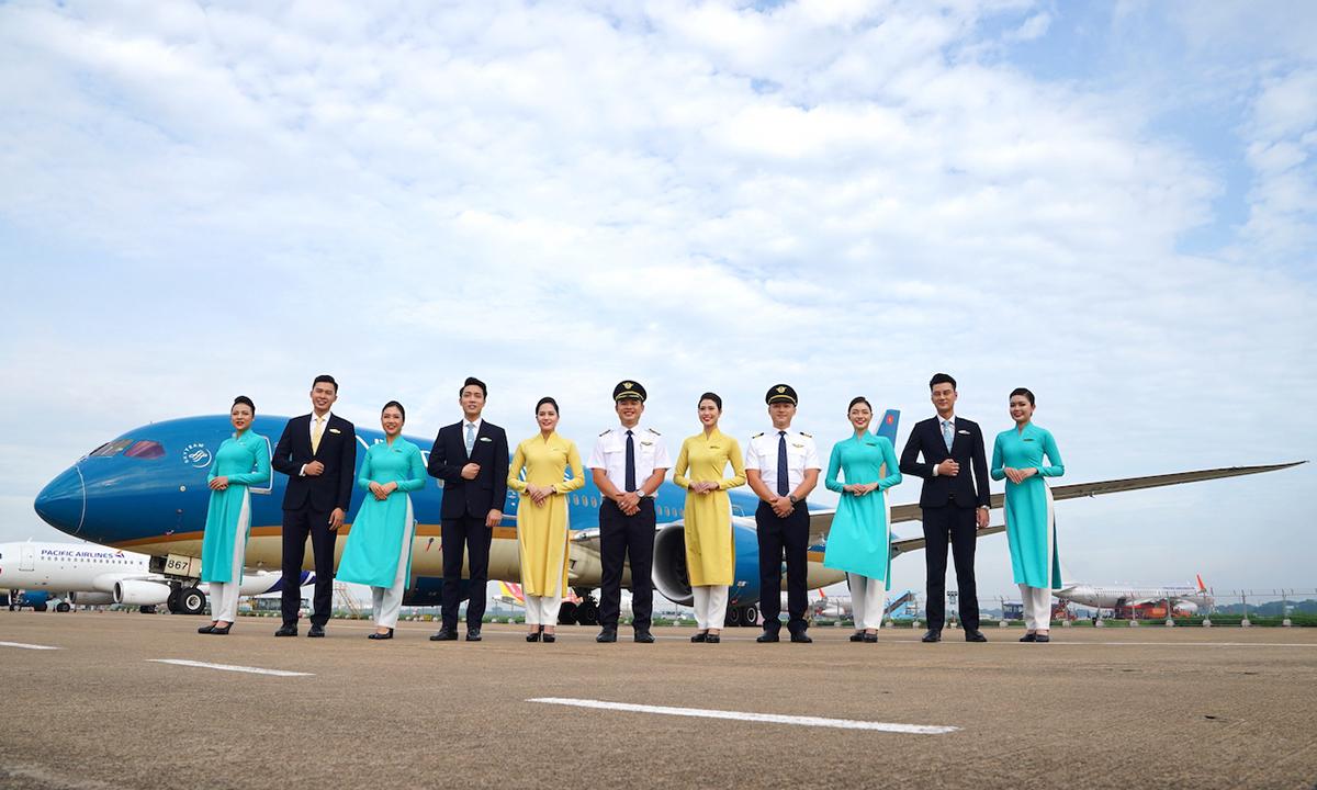 Phi công, tiếp viên của Vietnam Airlines. Ảnh: VNA