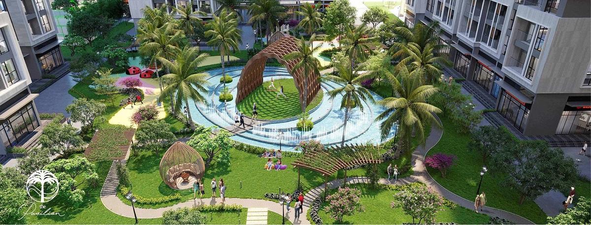 Dưới chân 4 tòa tháp căn hộ The Pavilion là một ốc đảo xanh mát với 2/3 không gian cây xanh, mặt nước.