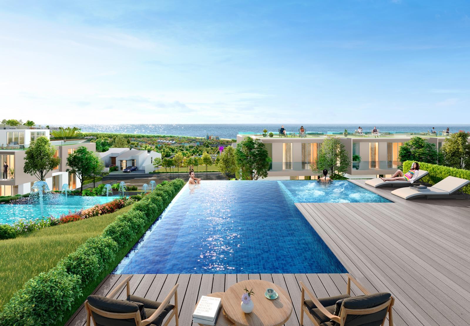 Waikiki tọa lạc tại sườn đồi cao 52-70 m so với mực nước biển và thuộc lõi trung tâm NovaWorld Phan Thiet. Ảnh phối cảnh: Novaland.