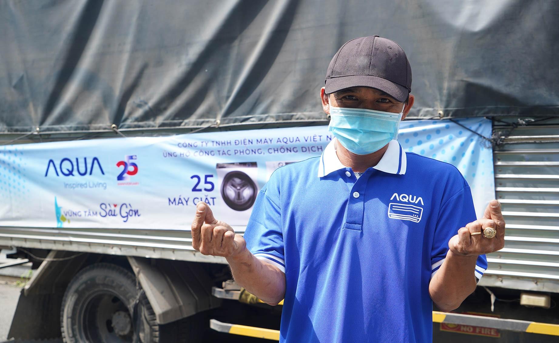 Anh Bình, nhân viên Aqua Việt Nam gửi lời chúc sức khỏe, tri ân đến đội ngũ tuyến đầu chống dịch.