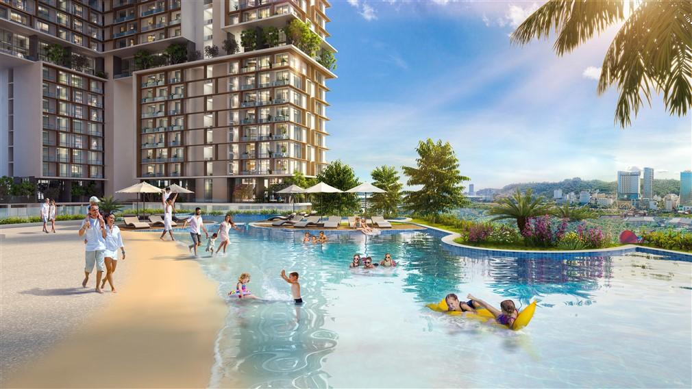 Phối cảnh bể bơi phong cách nhiệt đới trong tòa tháp.
