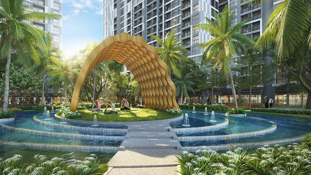 Đảo Yoga trên mặt nước giữa lòng ốc đảo xanh nằm dưới chân tòa P4 - The Pavilion.