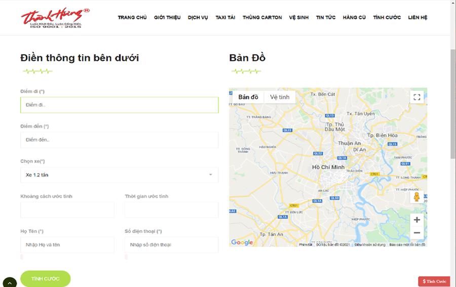 Thông tin khách hàng công khai trên hệ thống của Taxi tải Thành Hưng.