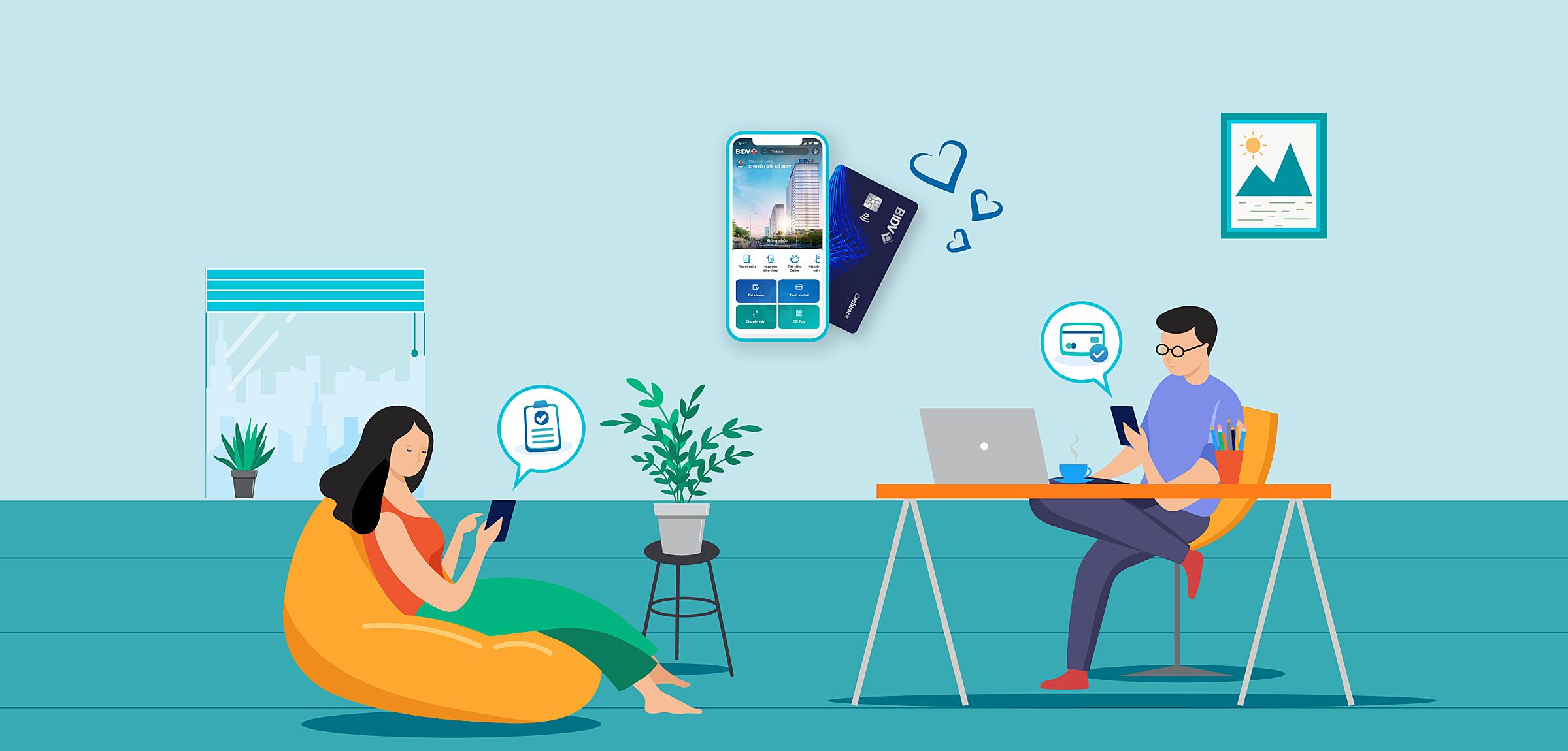 Người dùng có thể thực hiện giao dịch trực tuyến tại nhà. Ảnh: BIDV.