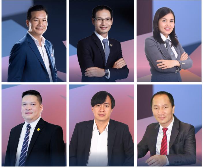 Từ trái sang, từ trên xuống: ông Phạm Thanh Hưng, ông Nguyễn Hoàng, bà Lương Ngọc Đinh, ông Nguyễn Đức Thêm, ông Trần Khánh Quang, ông Phạm Đức Toản.