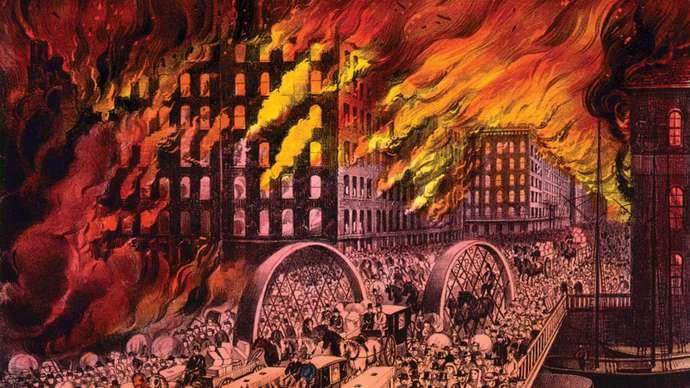 Vụ cháy lớn ở Chicago năm 1871. Ảnh: Britannica