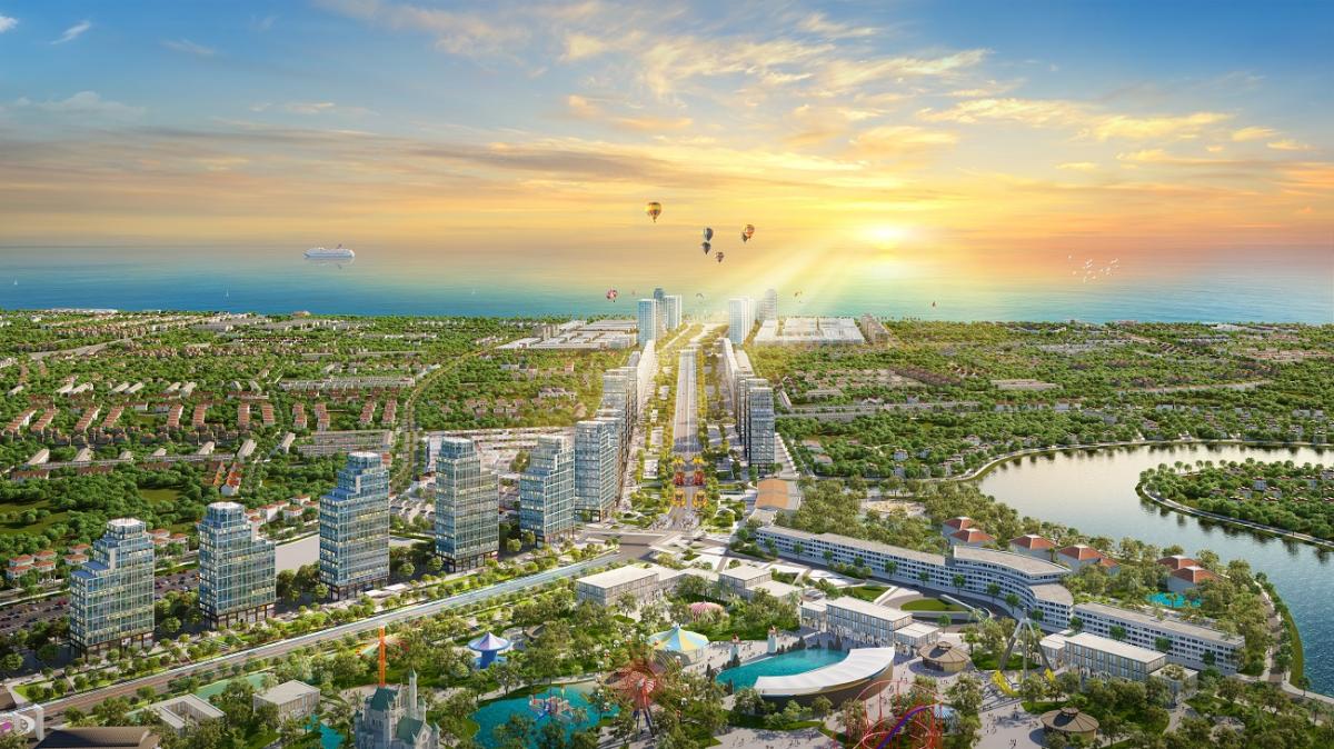 Phối cảnh khu đô thị Sun Grand Boulevard và tổ hợp công viên Sun World tại Sầm Sơn. Ảnh: Sun Group