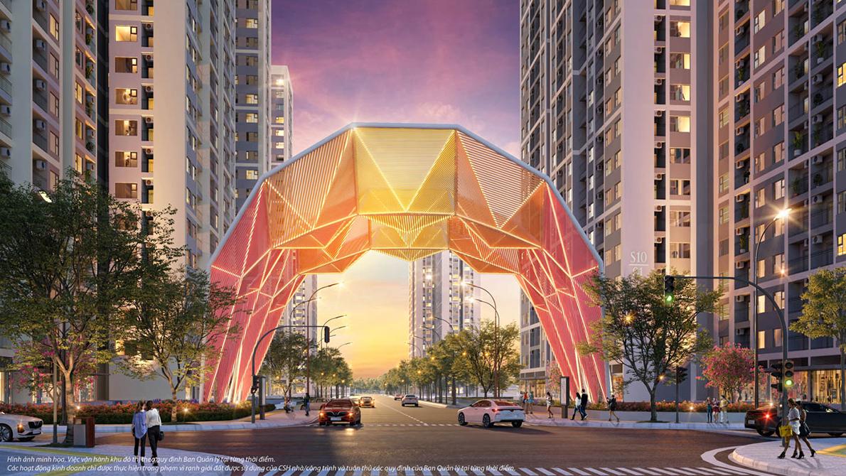 Phối cảnh cổng chào Origami biểu tượng cho văn hoá xứ Phù Tang giữa Đại đô thị Vinhomes Grand Park. Ảnh: Vinhomes