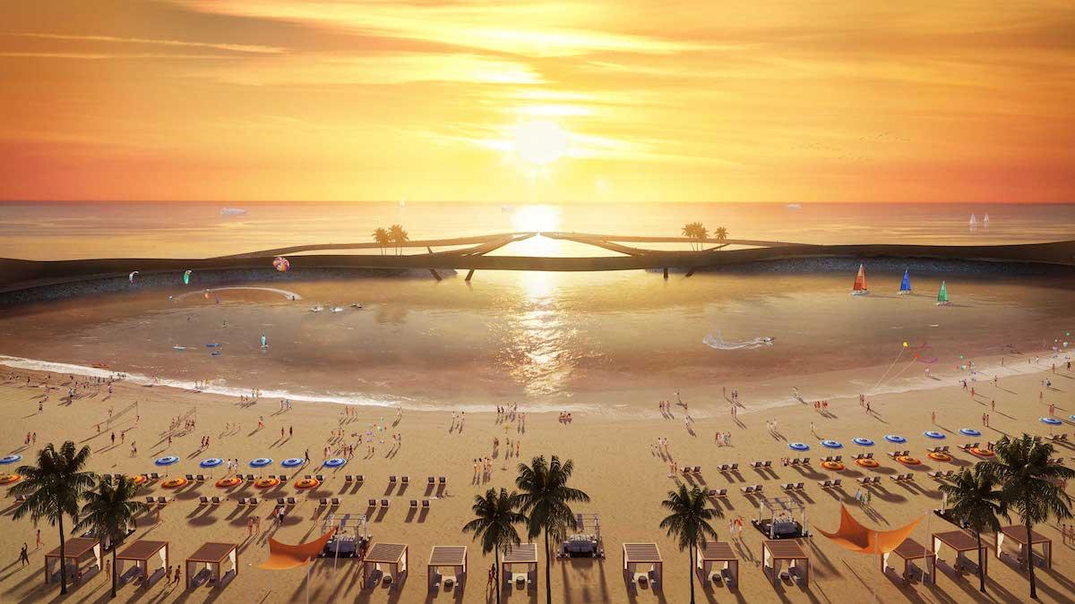 Cầu Hôn - một trong những công trình biểu tượng đang được kiến tạo tại Nam đảo Ngọc. Ảnh: Sun Group