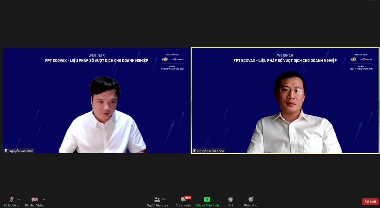 Ông Nguyễn Xuân Khoa (phải), Giám đốc khối CNTT, Chuỗi thực phẩm TH, chia sẻ về kinh nghiệm vượt dịch của doanh nghiệp. Ảnh chụp màn hình