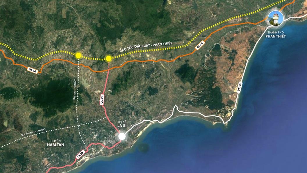 Hệ thống giao thông kết nối với Bình Thuận. Ảnh: Google Maps