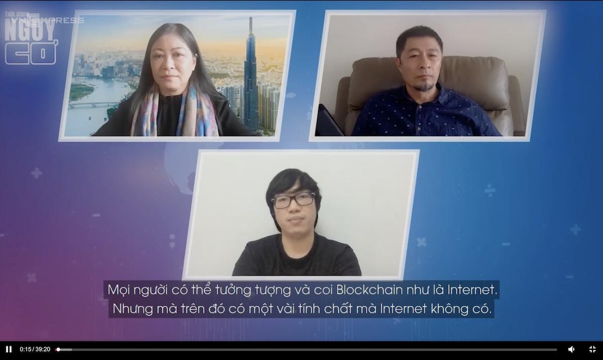 Host Nguyễn Phi Vân, đạo diễn Charlie Nguyễn và CEO Nguyễn Thành Trung trong talk Nguy - Cơ 12 mùa 2. Ảnh: Cắt từ talkshow