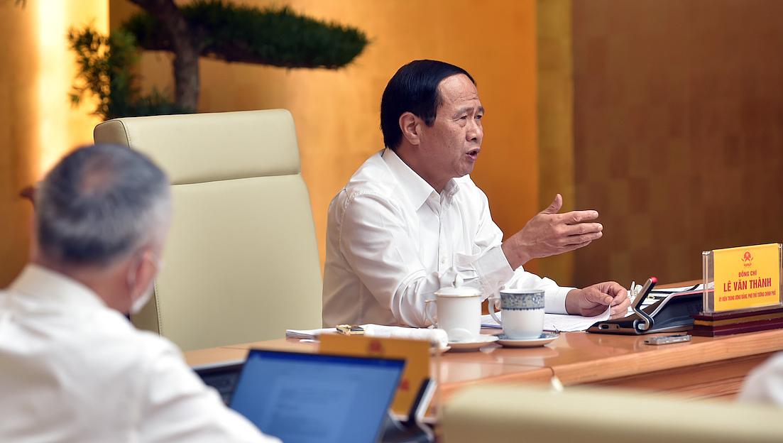 Phó thủ tướng Lê Văn Thành chủ trì hội nghị trực tuyến thúc đẩy lưu thông, tiêu thụ nông sản trong bối cảnh phòng, chống Covid-19, ngày 13/9. Ảnh: VGP