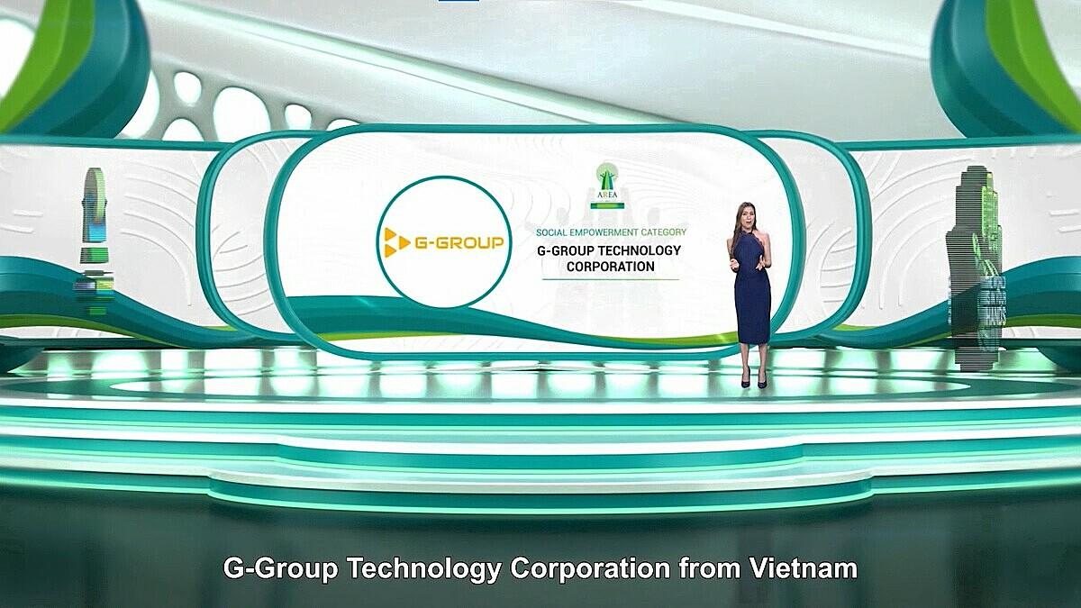 Tập đoàn Công nghệ G-Group được vinh danh tại lễ trao giải trực tuyến Doanh nghiệp trách nhiệm châu Á 2021. Ảnh: AREA 2021