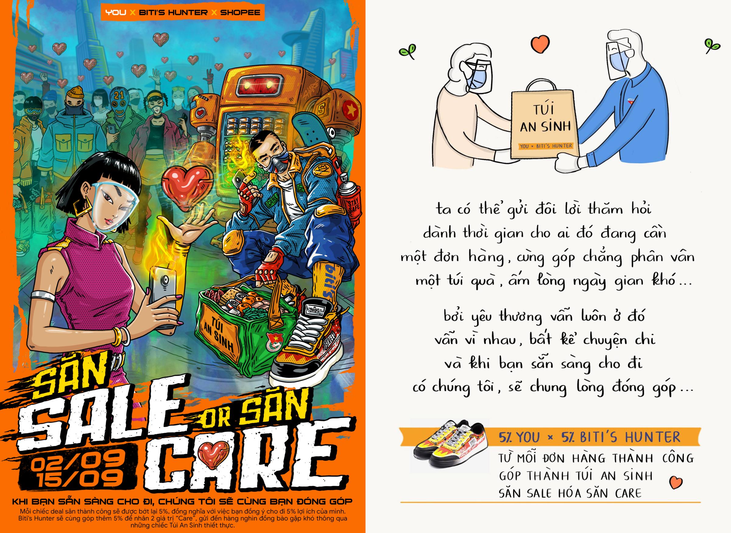Poster phát động chương trình Săn sale or Săn care và bài thơ từ fanpage Lai Thượng Hưng chia sẻ về thông điệp Đóng góp và yêu thương.