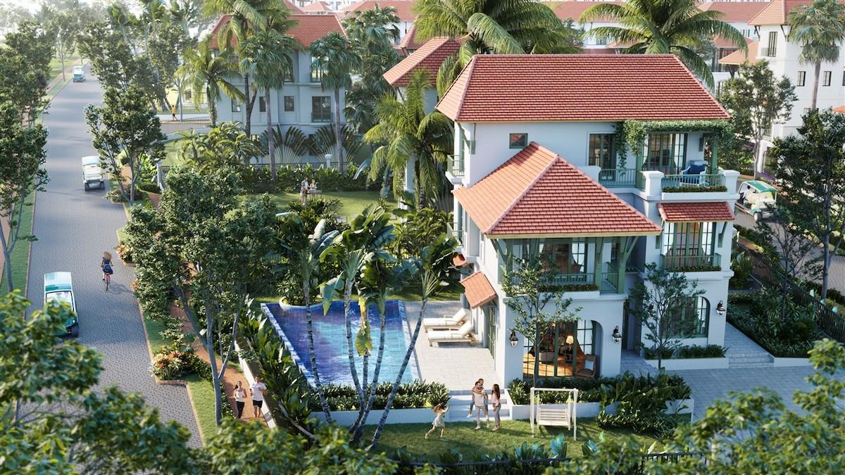 Phối cảnh biệt thự Sun Tropical Village - không gian lý tưởng để nghỉ dưỡng, chăm sóc sức khỏe.