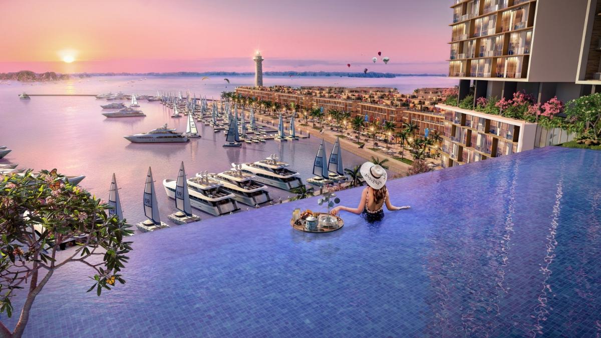 Phối cảnh tiện ích bể bơi tại dự án Sun Marina Town. Ảnh: Sun Group