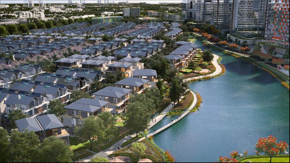 Mảng xanh bao quanh ven hồ Cầu Vồng ở trung tâm của dự án.