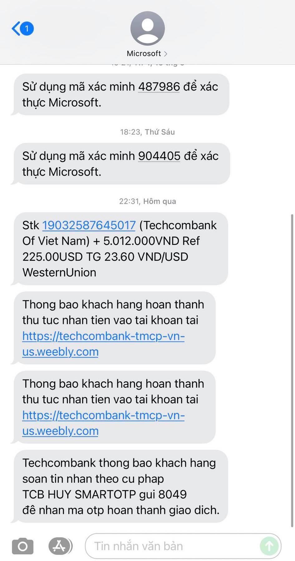 Các tin nhắn giả mạo ngân hàng được thông báo qua đầu số Microsoft