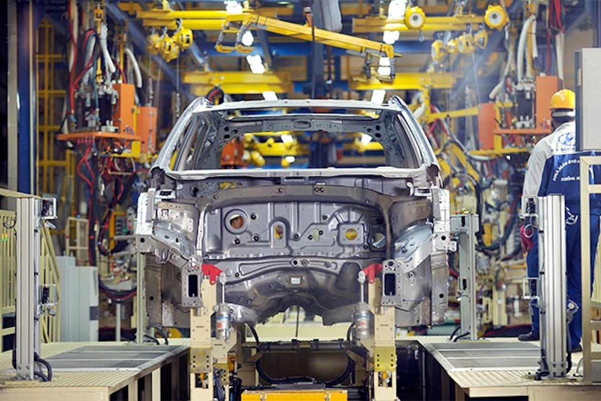 Sản xuất, lắp ráp xe tại Nhà máy sản xuất Ôtô Hyundai Thành Công Việt Nam. Ảnh: Thành Công