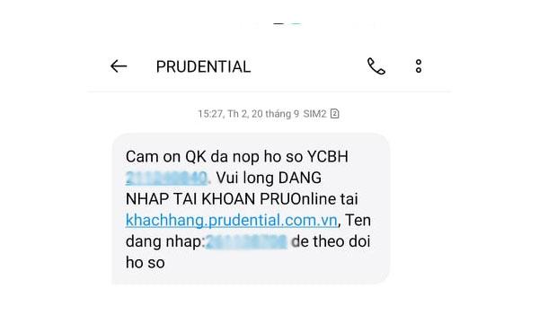 Khách hàng sau khi làm hợp đồng bảo hiểm tại Prudential sẽ nhận được tin nhắn từ công ty gửi về.