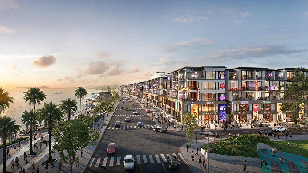 Phối cảnh những dãy shophouse ven biển tại Lagi New City.