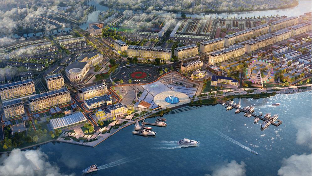 Shophouse Sun Harbor 1 sở hữu vị trí và tầm nhìn đắc địa bên tổ hợp quảng trường – bến du thuyền Aqua Marina. Ảnh: Novaland