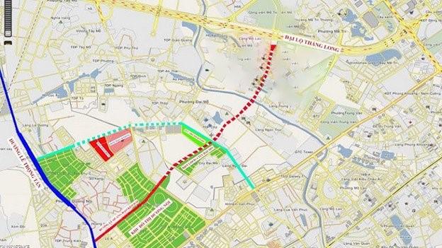 Bản đồ quy hoạch đường Lê Quang Đạo kéo dài.