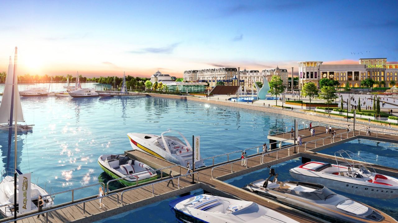 Phối cảnh tổ hợp quảng trường - bến du thuyền tại Aqua City.