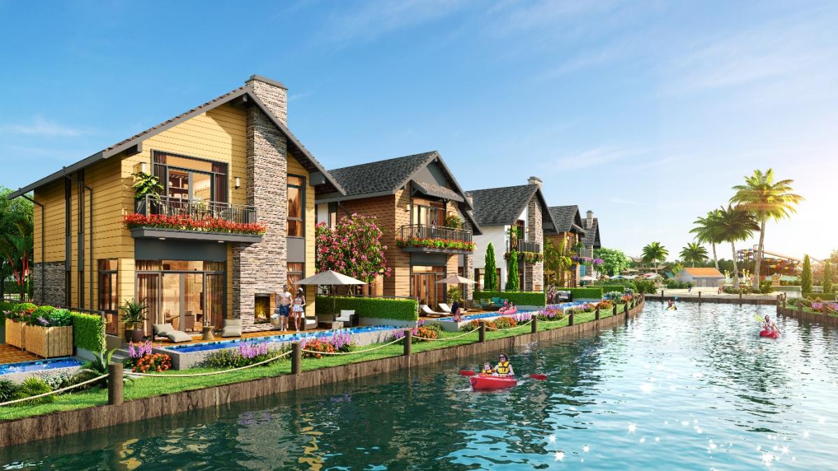 Làng biệt thự cạnh kênh đào Lagoon đầu tiên tại Hồ Tràm.  Ảnh: NovaWorld Ho Tram