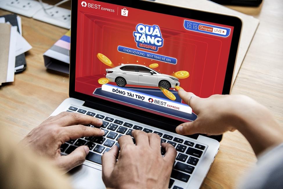 Chương trình quay số trên Shopee mang đến giải thưởng là xe Honda City trị giá đến 529 triệu đồng. Ảnh: BEST Express