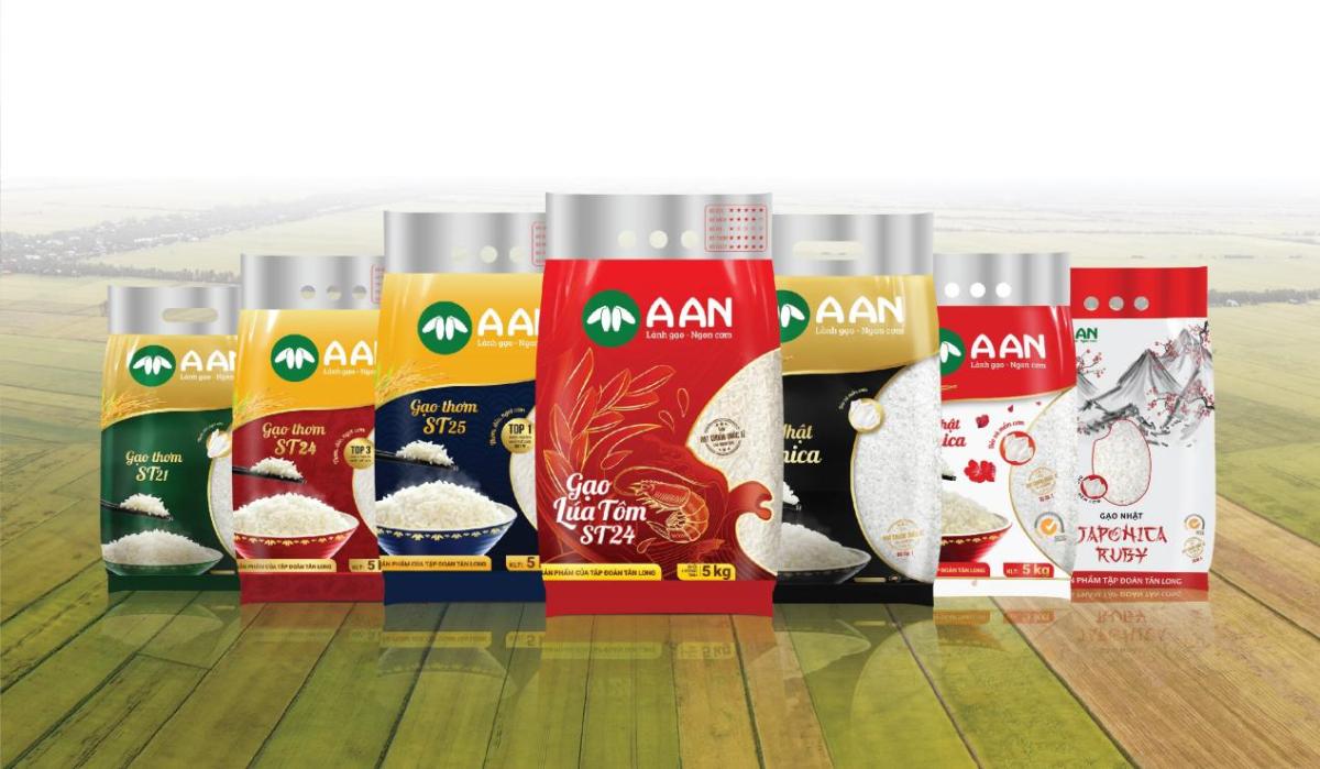 Một số sản phẩm gạo A An mà Tập đoàn Tân Long đang phục vụ cho thị trường nội địa.