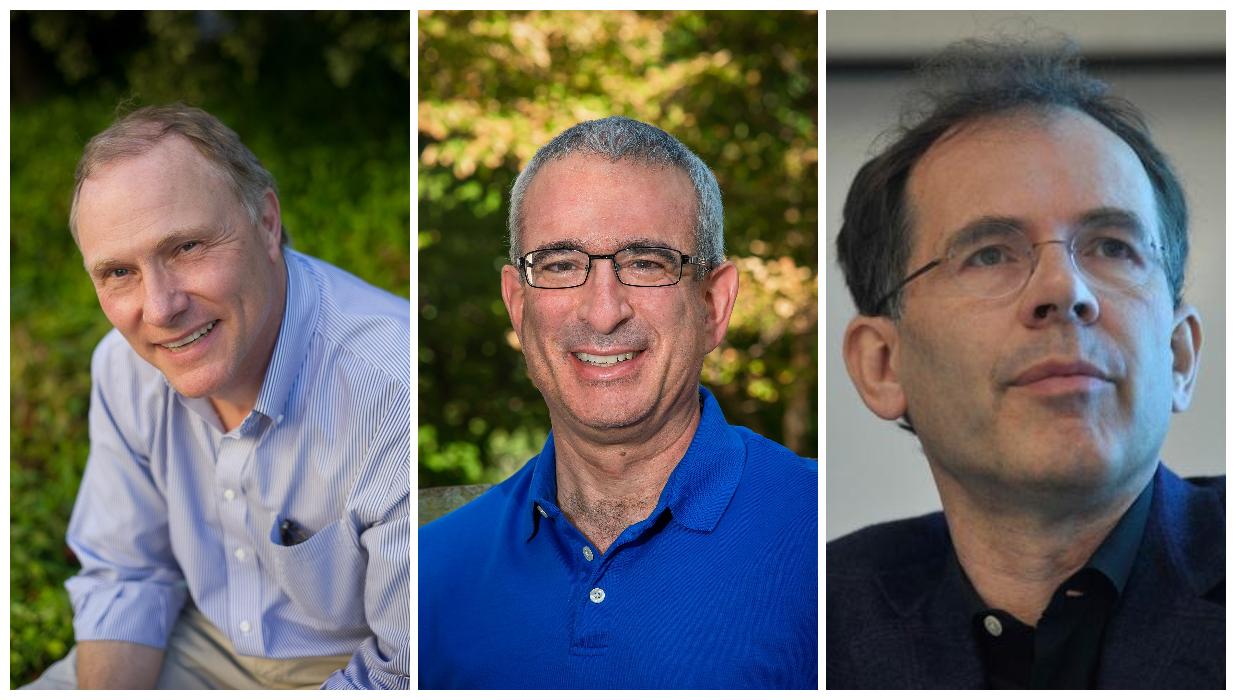 Từ trái sang, David Card, Joshua Angrist và Guido Imbens. Ảnh: Đại học California, Berkeley, Wikipedia và Đại học Stanford.