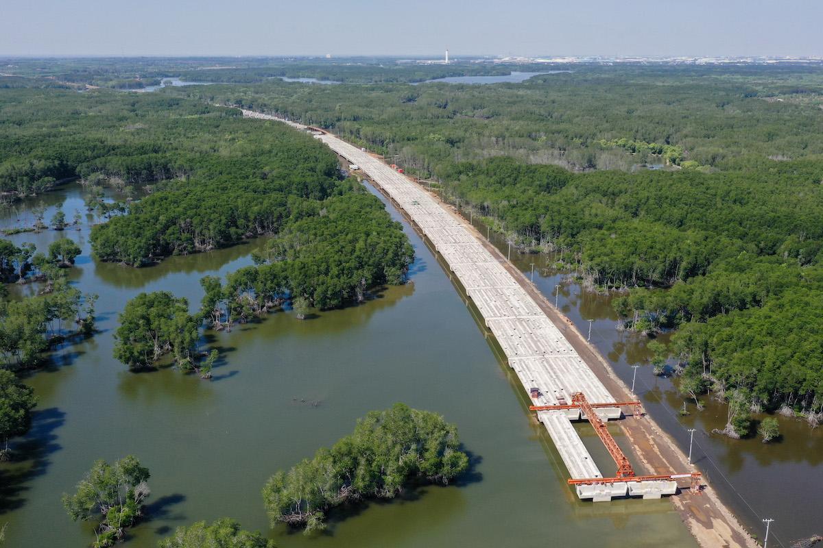 Cao tốc Bến Lức - Long Thành, đi qua khu rừng ngập mặn thuộc huyện Long Thành, Đồng Nai tháng 1/2021. Ảnh: Quỳnh Trần