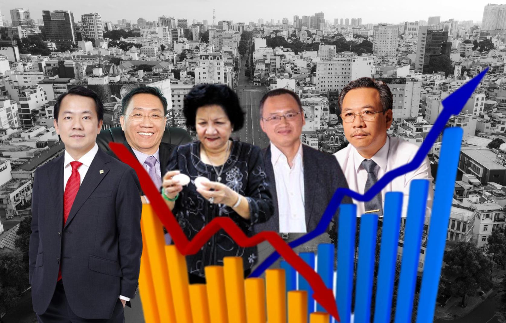 Từ trái sang, ông Nguyễn Anh Đức, ông Nguyễn Lâm Viên, bà Nguyễn Thị Huân, ông Nguyễn Đắc Việt Dũng và ông Nguyễn Ngọc An. Ảnh các công ty cung cấp