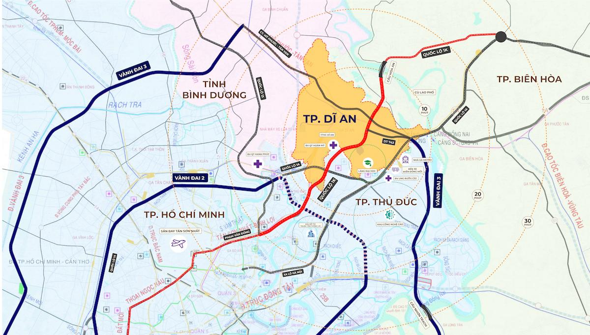 Quốc Lộ 1K là tuyến đường mang ý nghĩa chiến lược quan trọng của vùng trọng điểm kinh tế phía Nam, kết nối ba thành phố Thủ Đức, Dĩ An và Biên Hòa. Đồ họa: Thành Huy