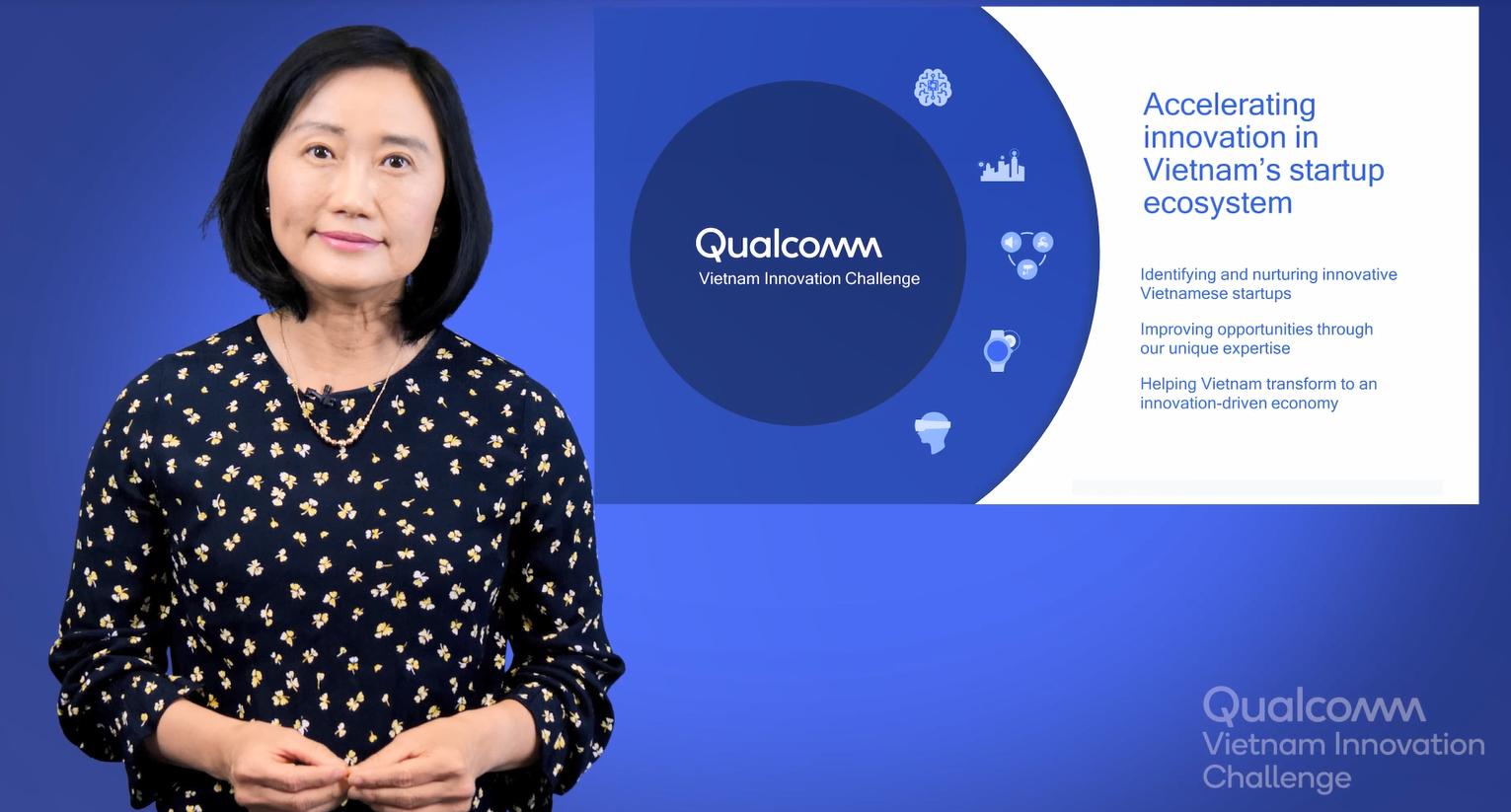 TS. Trần Mỹ An, Phó chủ tịch công nghệ Qualcomm chia sẻ điểm nổi bật của QVIC về sở hữu trí tuệ. Ảnh: Qualcomm.